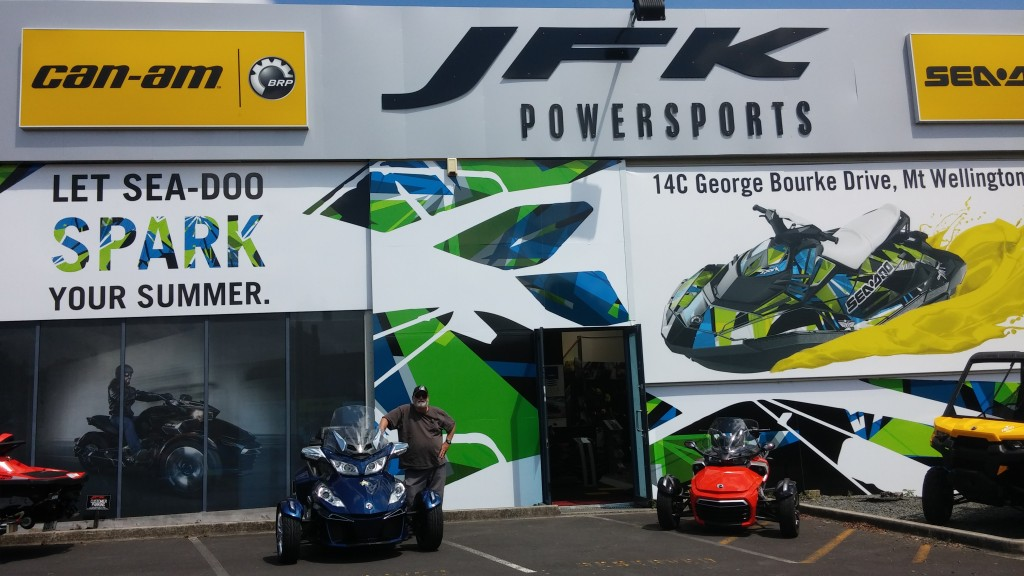 JFK Powersports in Auckalnd. The Number One Spyder dealer in New Zealand, and some of the nicest folks I've ever dealt with!