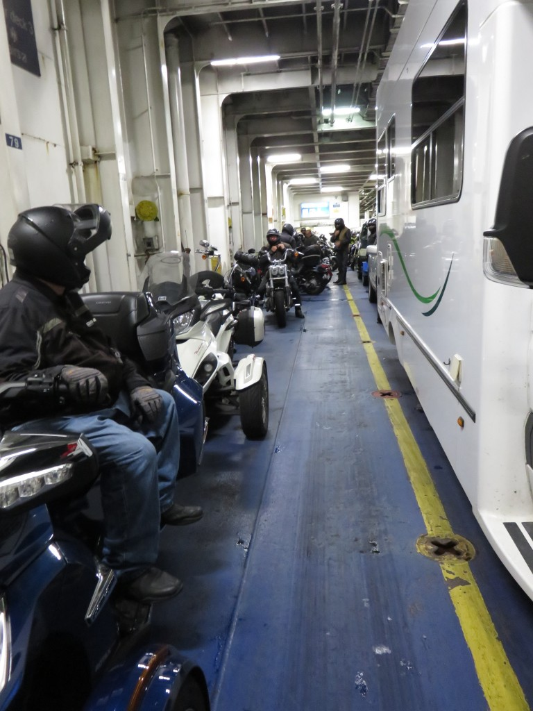 An advantage you may never have considered -- I get to sit and watch while the two-wheeler riders try desperately to tie down their bikes on the interisland ferry! I just set the parking brake....